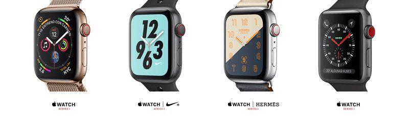 Panoramica con 4 modelos de apple watch series 4